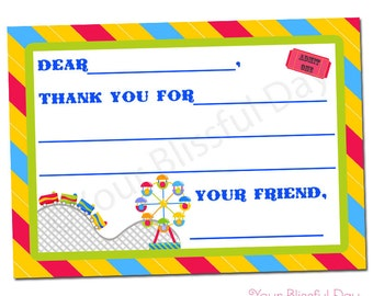 PRINTABLE Carnival Fun Fill-in-the-Blank Thank You Cards #515