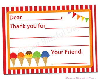 PRINTABLE Ice Cream Party Fill-in-the-Blank Thank You Cards #575