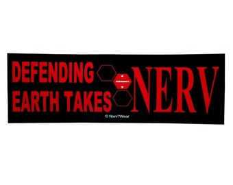 Neon Genesis Evangelion Anime Bumper Sticker (Defending Earth takes NERV)