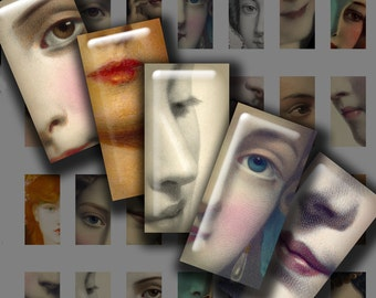 Mini Domino Those EYES Those LIPS Digital Printable collage sheet for making Jewelry Magnets Crafts...close-up face women femme