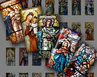 Mini Domino Digital Printable QUEEN OF HEAVEN No. 1 Stained Glass Photos & Religious Art Mix for Pendants Magnets Crafts