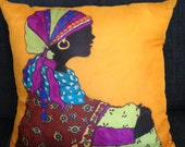 """Hand Painted Silk Decorative Pillow - """"Lady in Wait #4"""""""