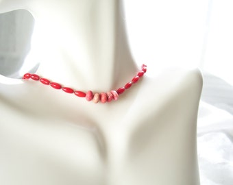 Coral & Brass Necklace - Colorful Light Orange Red Wedding Gift Summer