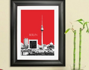 Berlin City Skyline - Berlin Germany #1 Art Print - 8 x 10 Choose Your Color