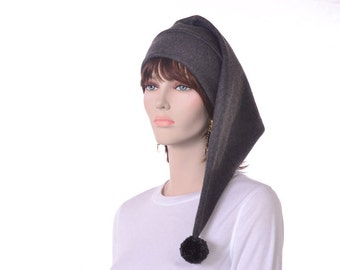 Long Charcoal Gray Stocking Cap with Pompom Fleece Hat Elf Hat Long Tail Hat