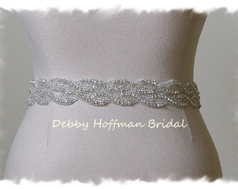 Bridal Belt 23 Inch Beaded Rhinestone Crystal Wedding