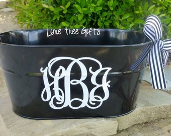 BLACK Personalized Oval Bucket