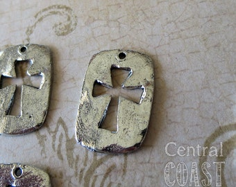 Rustic Cutout Pewter Cross Charm Pendant - Antique Silver - 15mm x 23mm - Central Coast Charms