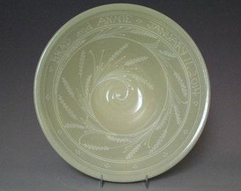 PERSONALIZED  Extra Large Stoneware Bowl  White wheat Spiral Swirl  Pattern