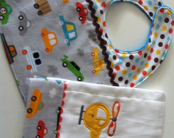 Modern embroidered helicopter applique boy burp cloth and matching bib - baby shower, gift