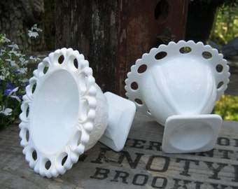 Small White Milk Glass Open Lace Compotes Sherberts - Lorraine Pattern - Wedding Decor - Oak Hill Vintage