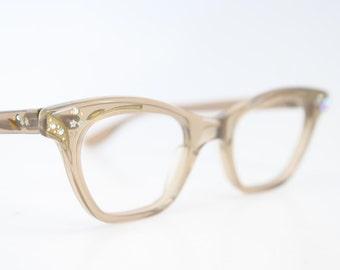 Unused Tan  Rhinestone Cat Eye Glasses Cateye Frames Vintage Eyewear 1960s Eyeglasses New Old Stock