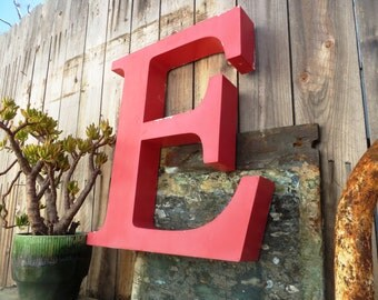 Vintage Marquee Sign Letter Capital 'E': Very Large Pink Metal Wall Hanging Initial -- Industrial Neon Channel Advertising with INTACT LEDs