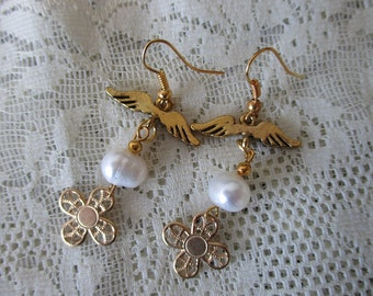 Magical Girl Wedding Earrings - Fresh Water Pearls & wings