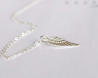 Sterling Silver Small Angel Wing Necklace, Guardian Angel