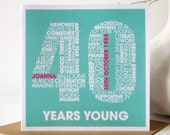 Personalised 40th Birthday Card - Personalized 40th Birthday Card - Birthday Card for Him - Birthday Card for Her