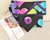 Purple-Rainbow-Heart-Quilted-ID-Credit-Business-Card-Holder-Wallet-Change Purse-Pouch-Mini-Case