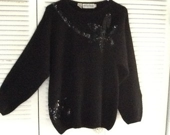 Vintage Black silk blend sweater with sequins, size med