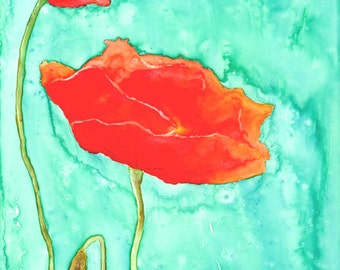 Watercolor Painting - Floral Art - Poppy Trio - Wildflowers