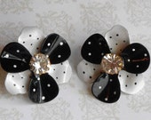 Vintage Black and White Retro Avon Earrings