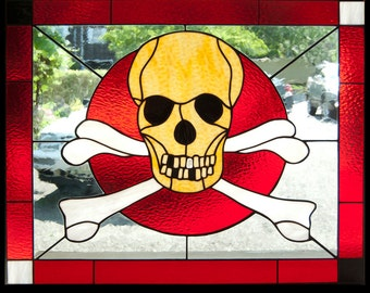 Skull and Crossbones custom stained glass window 30x36