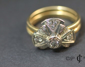 Diamond Stacking Ring, Vintage Style, 18k Gold Wedding Band Set, Tie the Knot