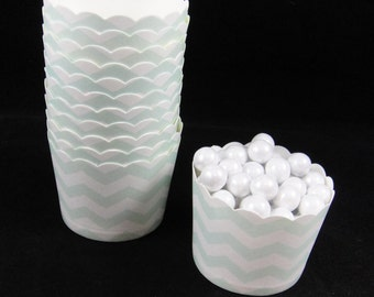 Light Mint Green Chevron  Baking Cups, Candy Cups, Nut Cups, Weddings, Party Cups, Candy Buffets, Wedding Cupcakes, Favor Cups, QTY 12