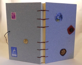 Blue Jean Hand Made Paper Journal With Coptic Stitch Binding -PM#14zCSB