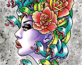 Tattoo Flash Signed Art Print - Medusa - 5x7, 8x10, or 11x14 - Gypsy Snake Traditional Old School Tattoo Design Illustration