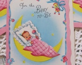 Small New Baby Gift Note Card  - Unused Circa 1940s