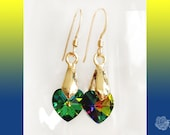 Hooks or Posts, Green Vitrail Swarovski 14mm Crystal Hearts Earrings, Gold-Plated Bale, 14K Gold Filled Ear Wires or Posts, You Choose