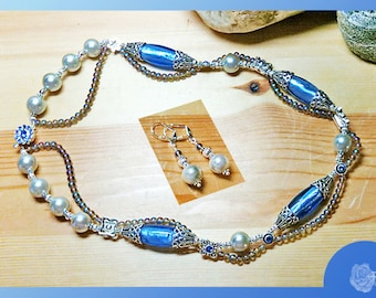 """20"""" Necklace Blue Pressed Glass Czech Crystal AB Druks Sapphire Swarovski Crystal Spacers and Box Clasp 2-Strands And/Or Leverback Earrings"""