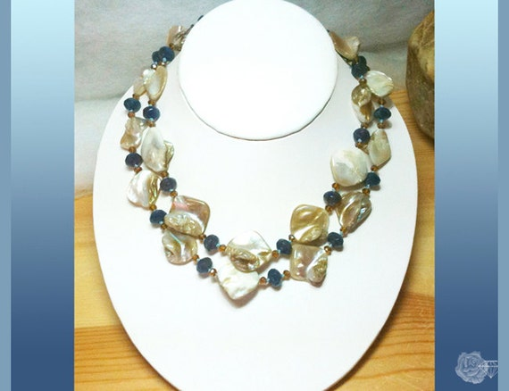 """15"""" Choker Necklace Freeform Caramel Mother-of-Pearl Blue Czech Rondels Topaz Czech Crystals Silk Knots 2-Strands Gold Pewter Toggle Clasp"""