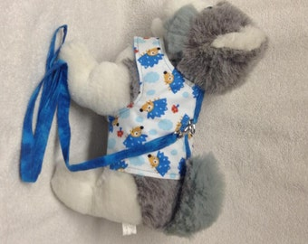 Dog Harness Vest And Matching Leash  Custom Sizes From XSmall - Medium    Hedghogs                        Hedgehog