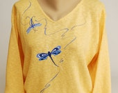 Hand Painted 100% Cotton Sweater - Art-to-wear- DRAGONFLY DESIGN  'I'M FLYING!'  on yellow .  Green Art, Nature Great Gift!
