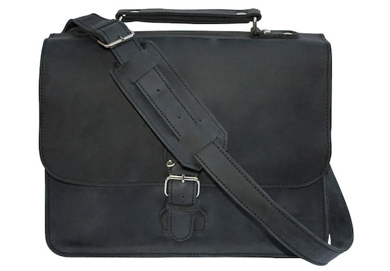Indiana Satchel - Charcoal Black, Distressed Indiana Jones Bag