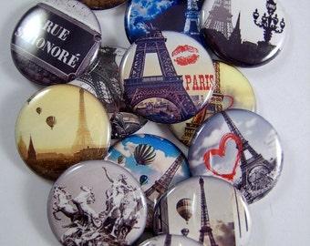 """Paris Magnets, Paris Pins Badges, Eiffel Tower Pins, Eiffel Tower Magnets, Paris Cabochons, 1"""" Inch Flats, Hollow Backs, Cabochons, 12 ct"""
