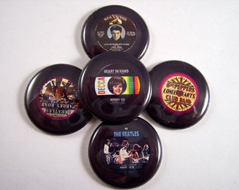 Record Magnets Pins Fridge Magnets Party Favors Oldies 45 rpm Record Images Vinyl Record Images