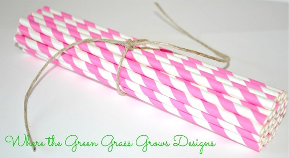 Bubble Gum Pink and White Paper Party Straws pink party straws girl birthday girl party prettyand pink