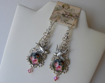 Pink Rose Earrings, Long Silver Rose Dangle Filigree Earrings, Bird Earrings, Shabby Chic Earrings, Pink Roses and Birds Earrings