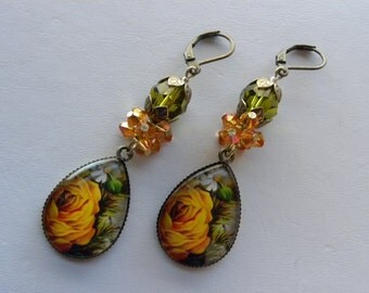 Yellow Roses Earrings, Yellow and Green Crystal Cluster French Shabby Chic Earrings, Long Dangle Swarovski Crystal Earrings