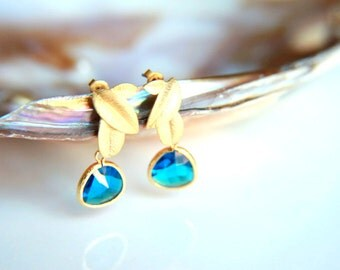 Capri blue crystal Earrings:Gold plated brass earring hooks with capri blue  crystal, gold plated leaf studs earring, wedding, bridesmaid