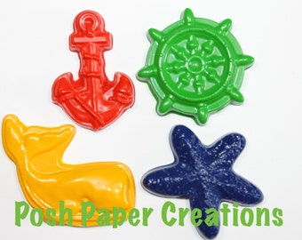 10 sets of 2 Nautica  theme crayons - in cello bag tied with ribbon - choose your colors