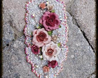 Sale Floral Swarovski Crystal and Pearl embellished Hair Piece Appliqué