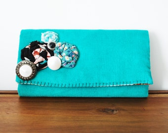 Teal Corduroy Trifold Fabric Wallet with Rosettes, Buttons and Cowboy Interior