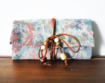 Pastel Floral Cloth Trifold Clutch Wallet with Cognac Leather Tie