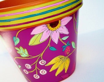 "Hand Painted Flower Pot Terracotta 6 Inch  ""Berry Delight""-  Made to Order"
