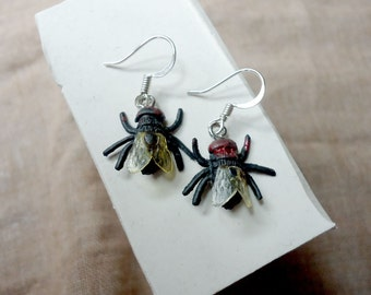 Realistic fly earrings. Surgical steel and rubber