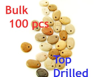 Bulk Top Drilled Beach Stones 100 pcs- Jewelry Supplies by Order