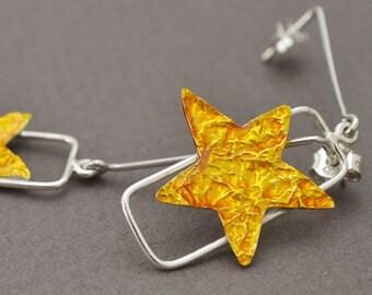 silver earrings, star earrings, liquid glass earrings, yellow enamel earrings